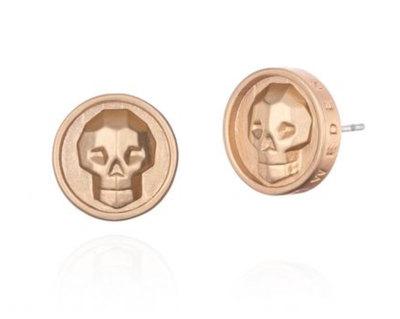 0 Skull Earrings Gold Unisex