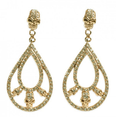 0 Double Loop Skull Earring Gold