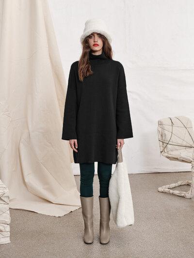 0 Cotton experience boxy dress Black