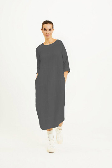 0 Dress with cuttings black linen