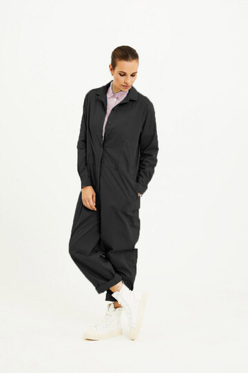 0 Jumpsuit Black Cotton Poplin