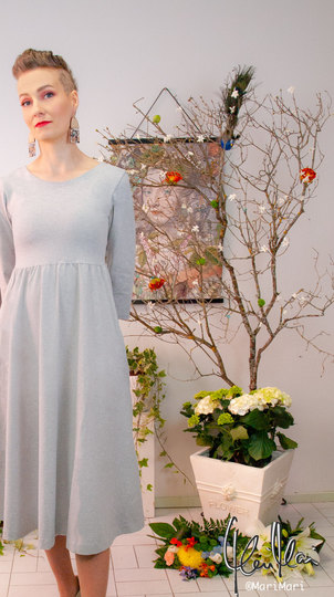 0 Seireeni II Dress Jersey Light Grey Melange
