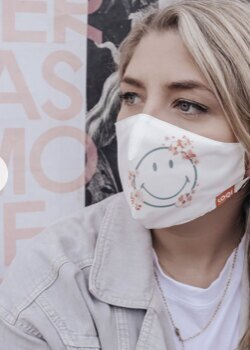 0 Smiley white Kasvosuojain-maski