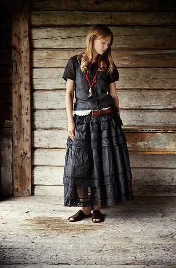 0 Voile Vintage skirt Black