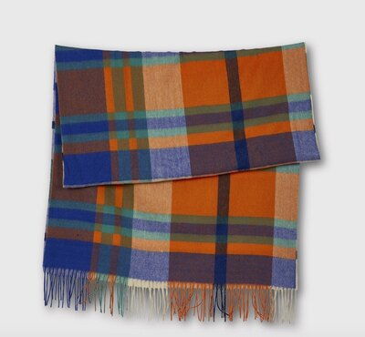 0 check it out wool scarf orange-blue