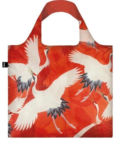 Woman's Haori White and Red Cranes Bag