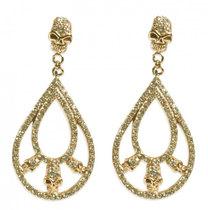 0 Double Loop Skull Earring Gold