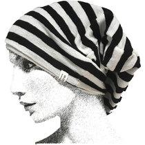 0 Knit Cap Raw White-Black Stripes