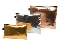 Metallic Gold - Silver - Rose Gold Zip Pockets